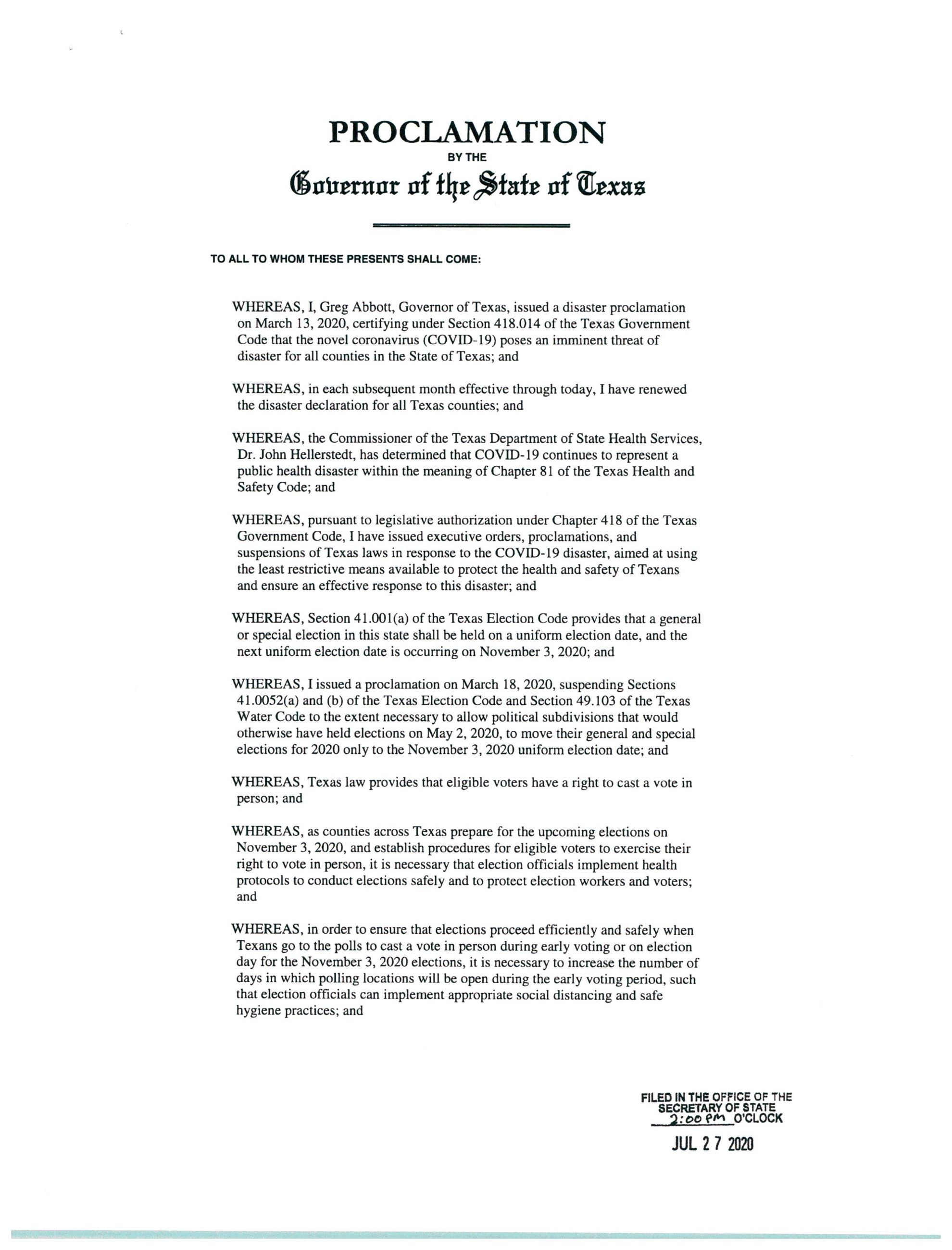 PROCLAMATION BY THE GOVERNOR OF THE STATE OF TEXAS PAGE 2