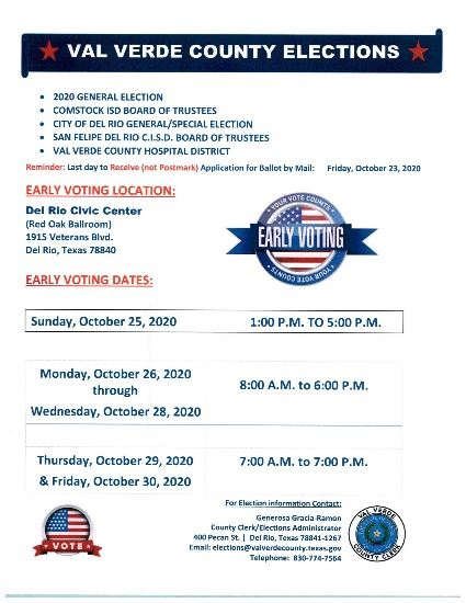 UPDATED EARLY VOTING SCHEDULE