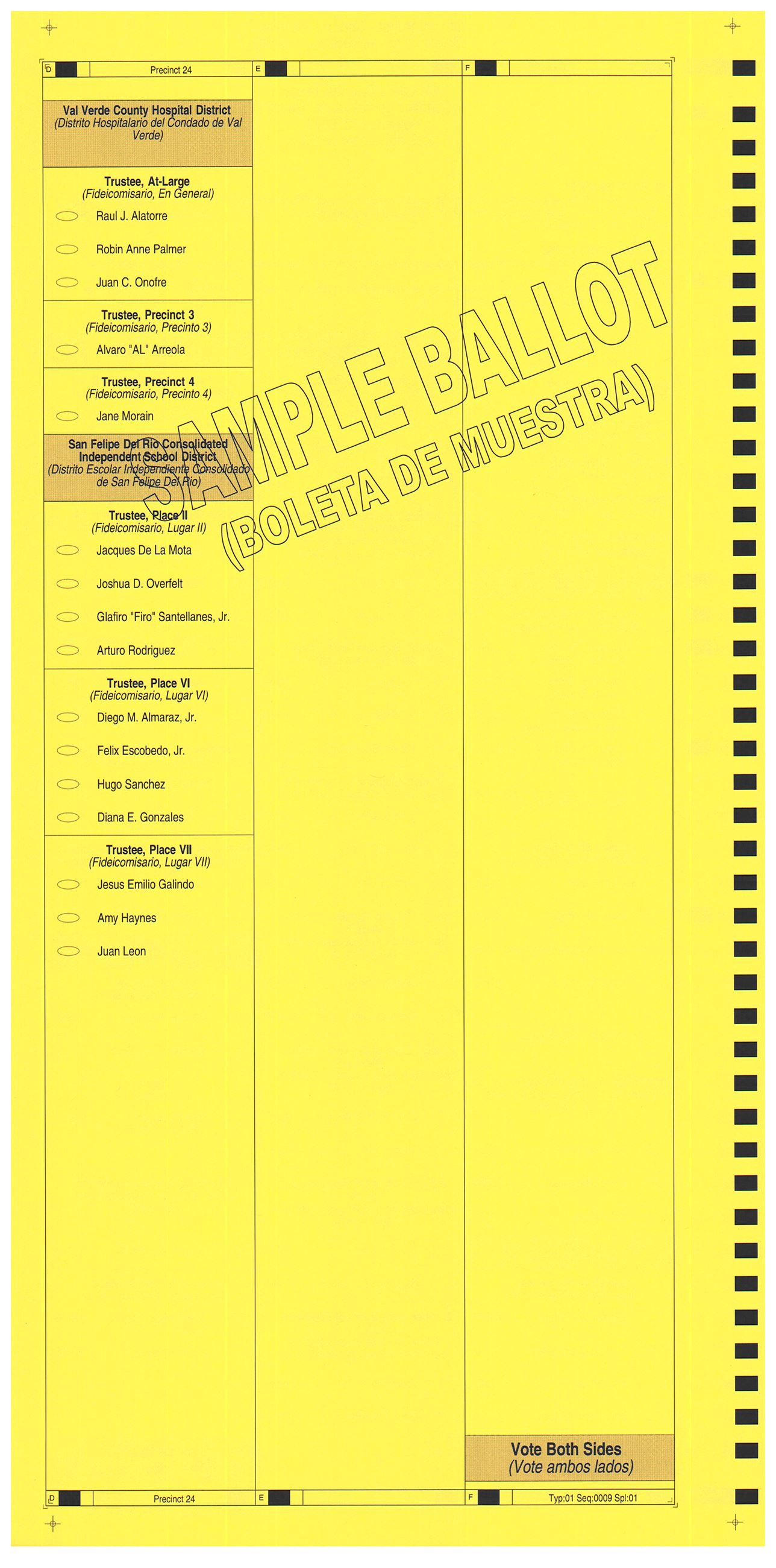 PRECINCT 24 SAMPLE BALLOT BACK