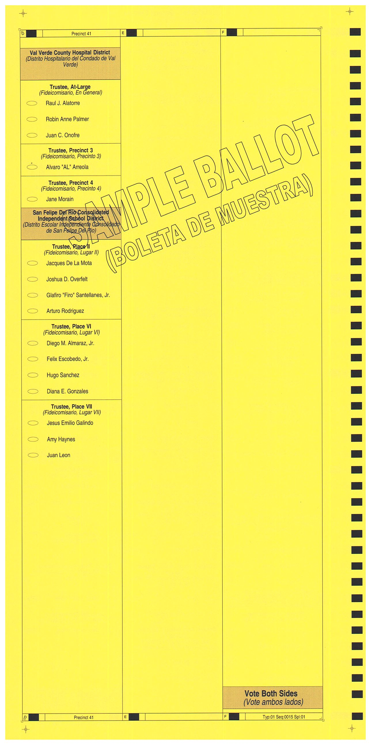 PRECINCT 41 SAMPLE BALLOT BACK