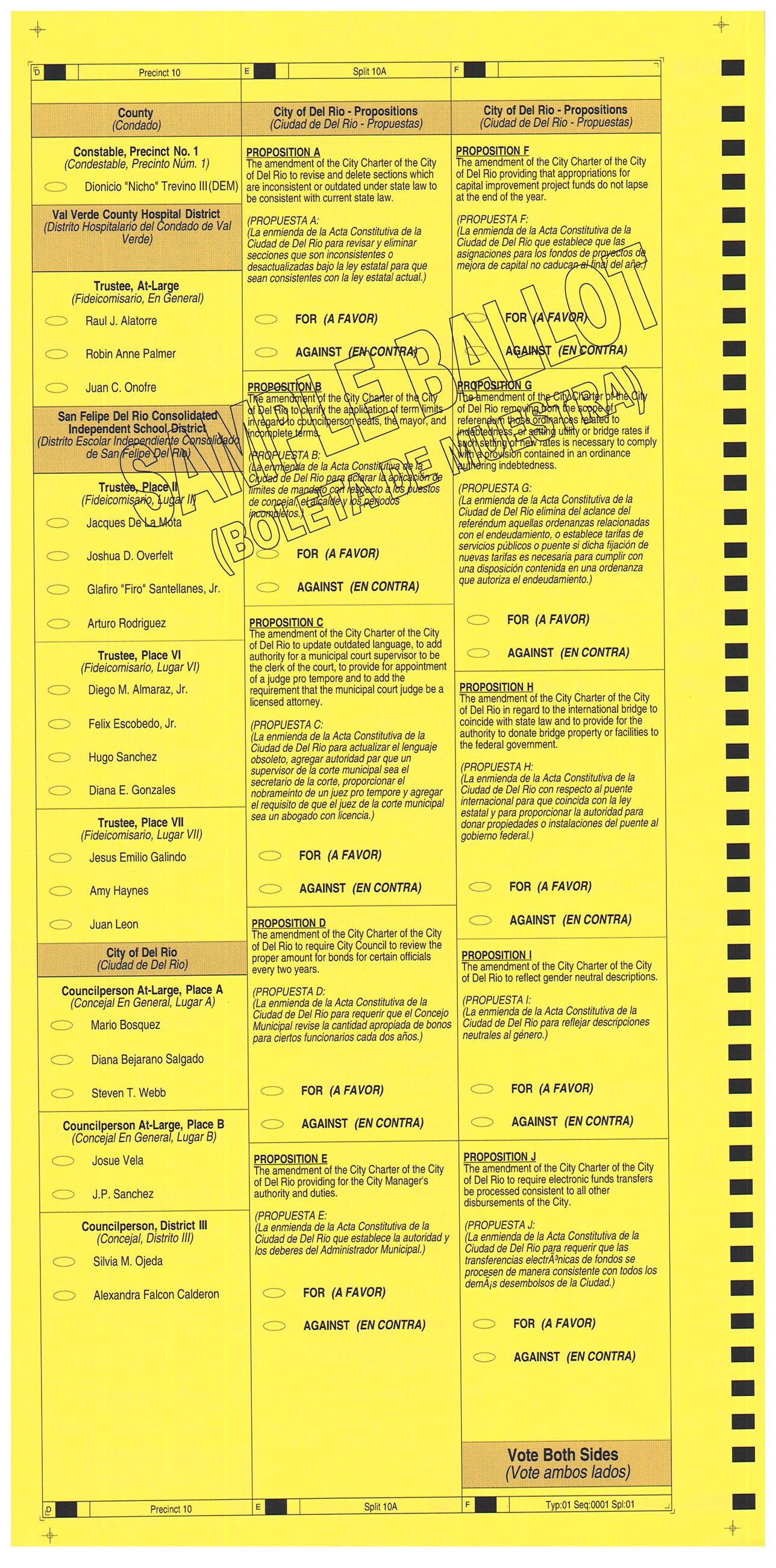 PRECINCT 10A SAMPLE BALLOT BACK