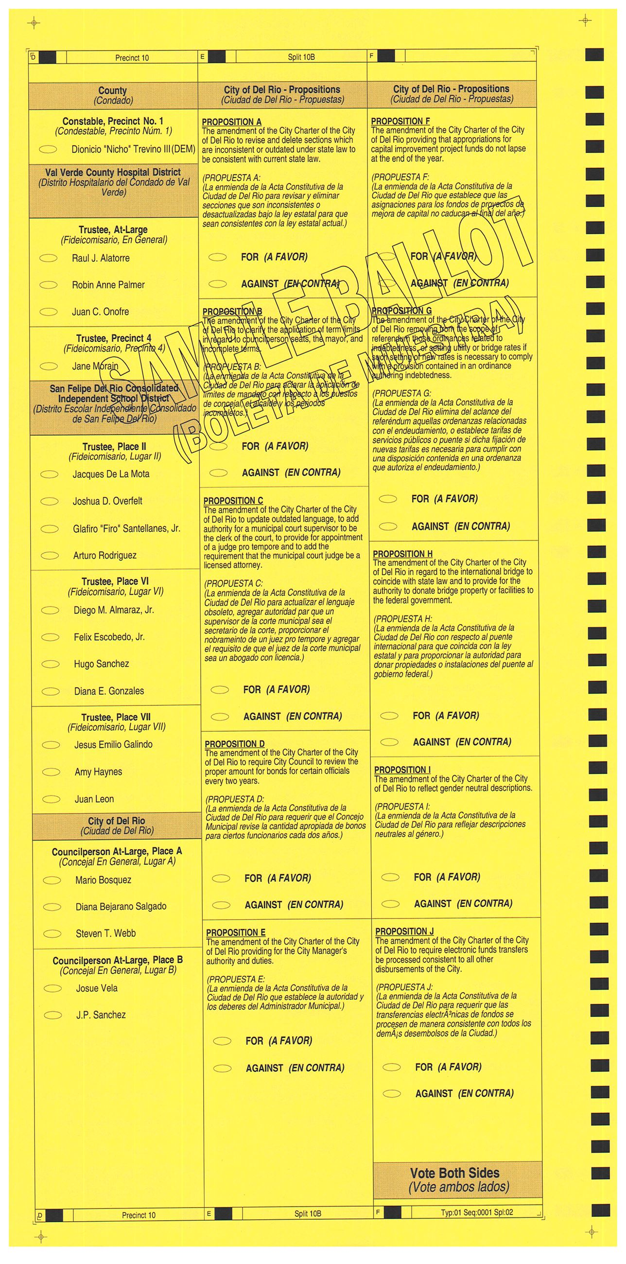 PRECINCT 10B SAMPLE BALLOT  BACK