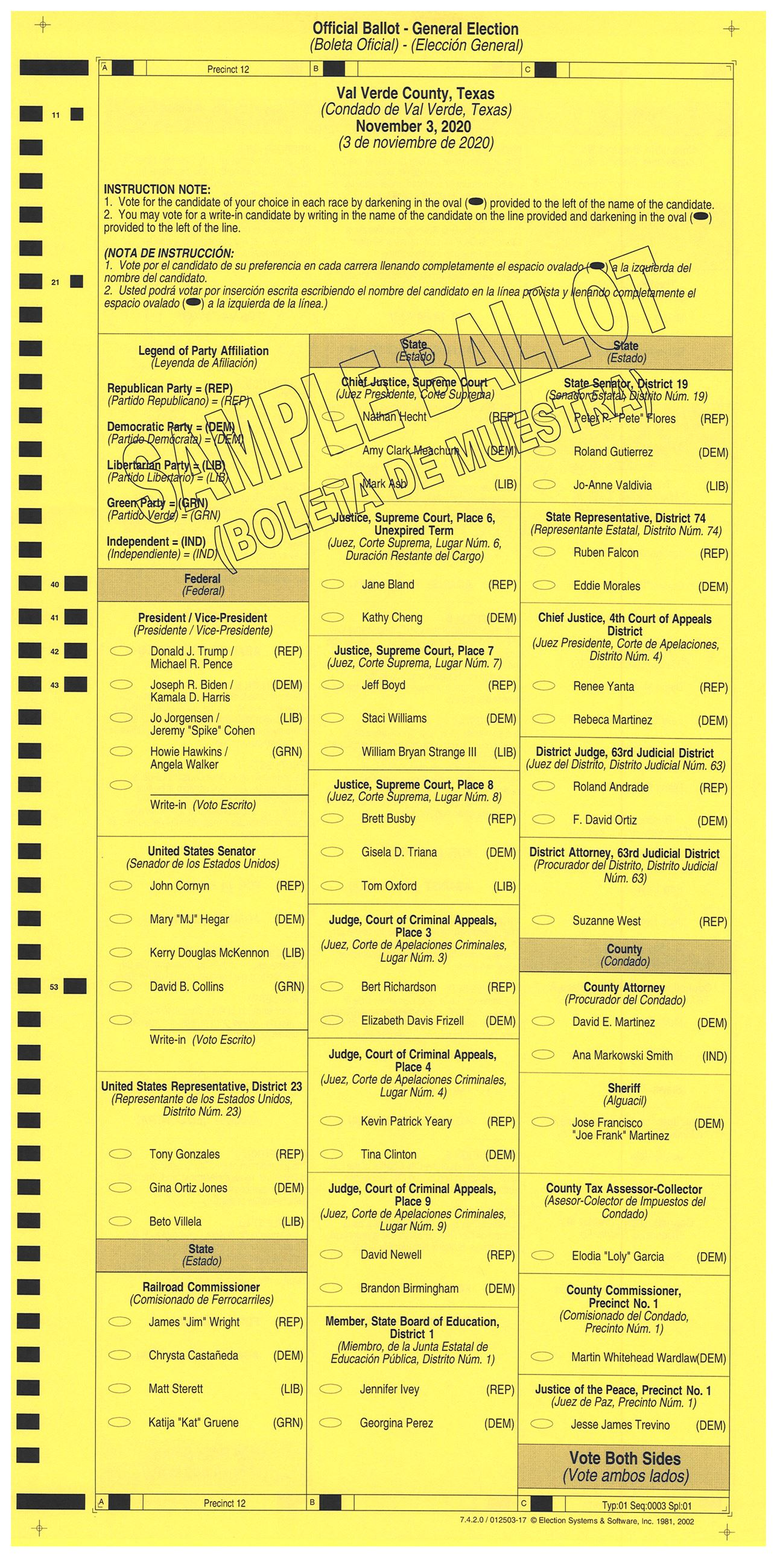 PRECINCT 12 SAMPLE BALLOT FRONT