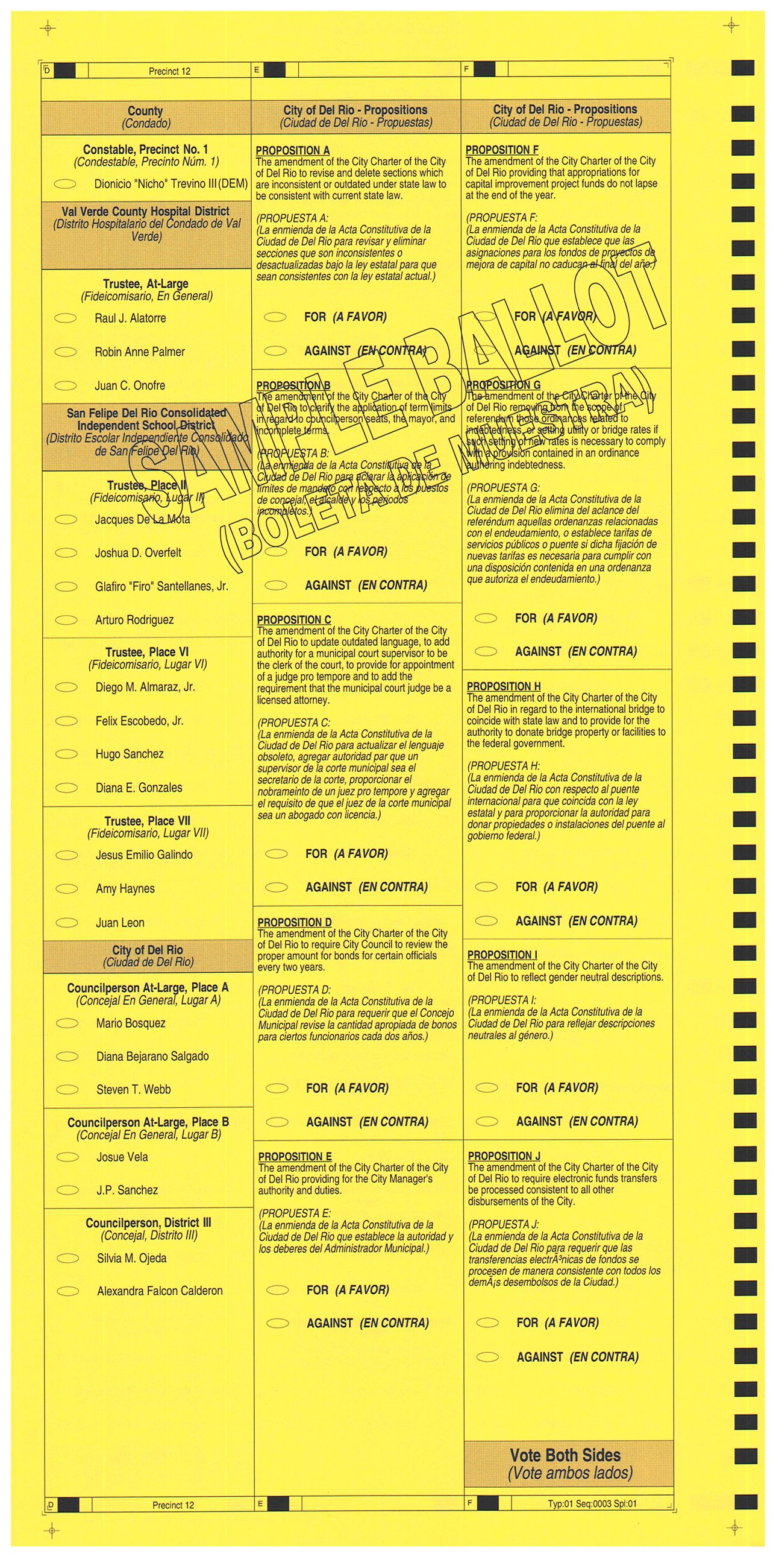PRECINCT 12 SAMPLE BALLOT BACK