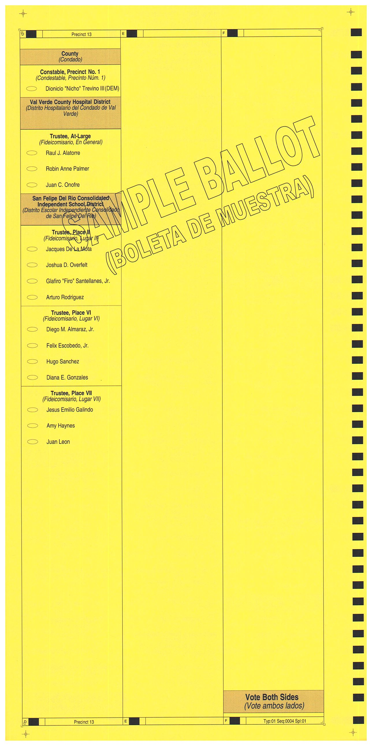 PRECINCT 13 SAMPLE BALLOT BACK