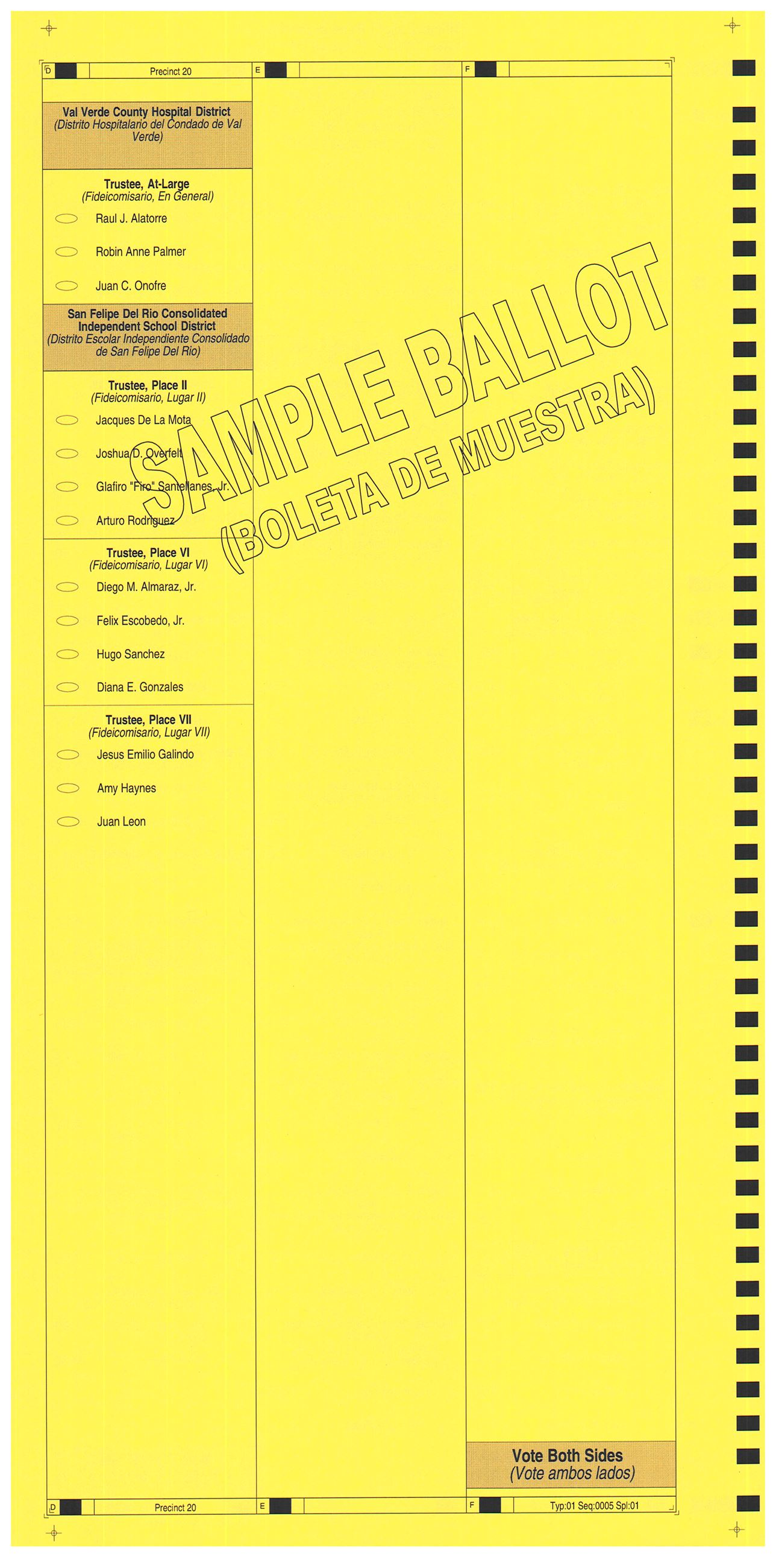 PRECINCT 20 SAMPLE BALLOT BACK