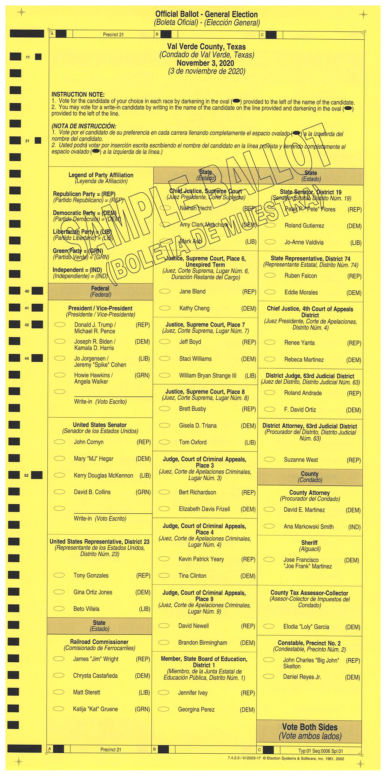 PRECINCT 21 SAMPLE BALLOT FRONT