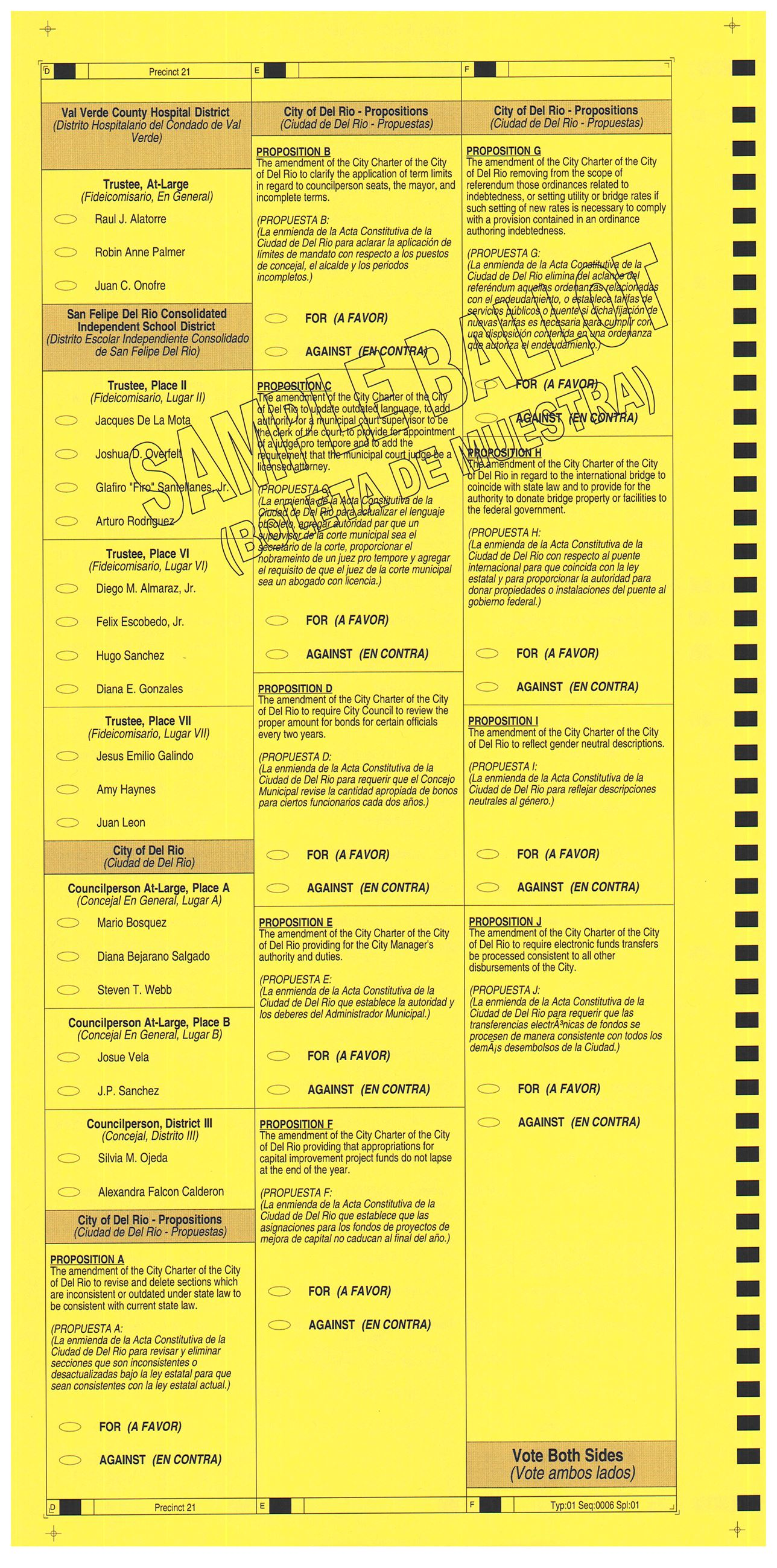 PRECINCT 21 SAMPLE BALLOT BACK