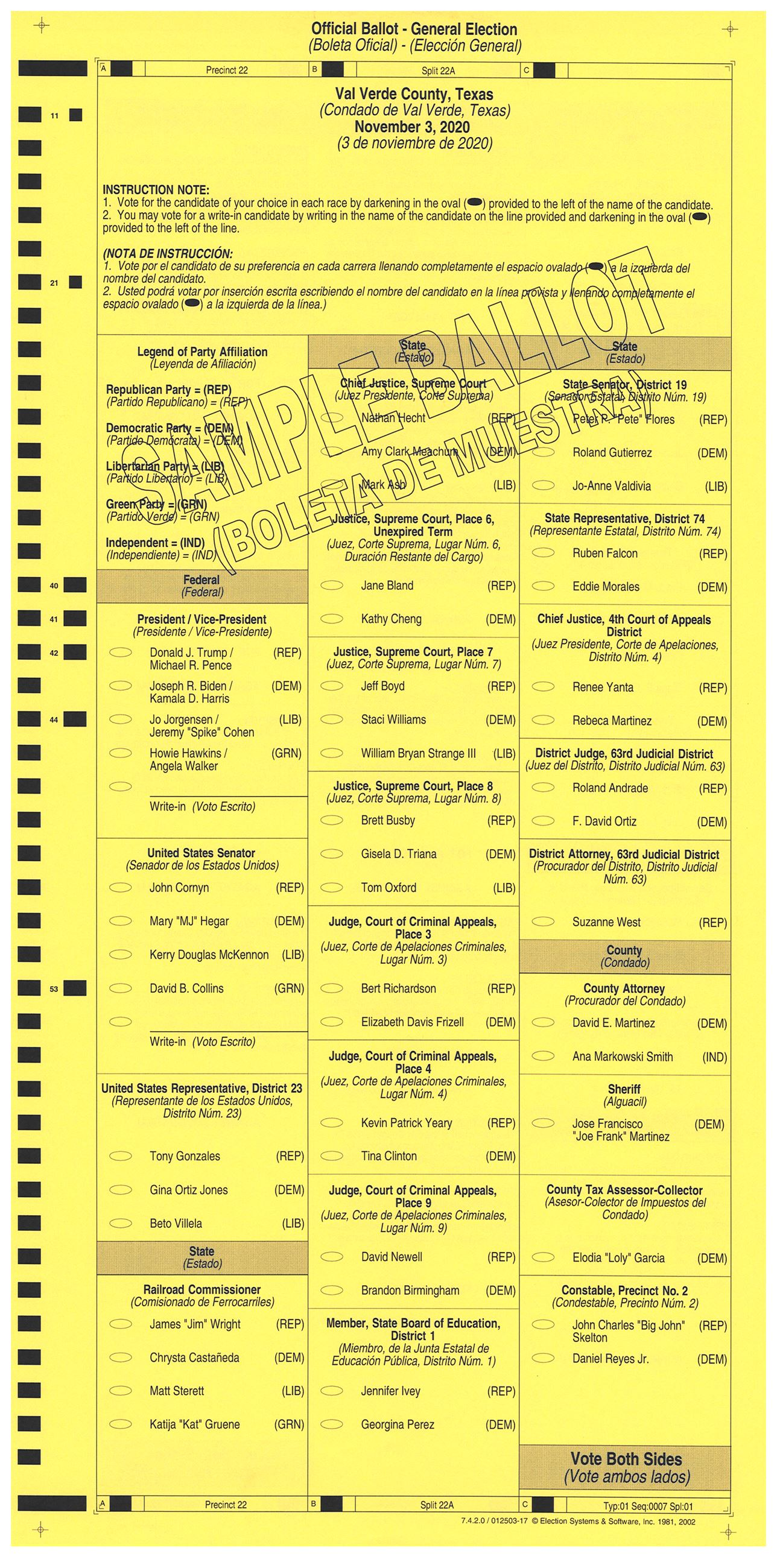 PRECINCT 22A SAMPLE BALLOT FRONT