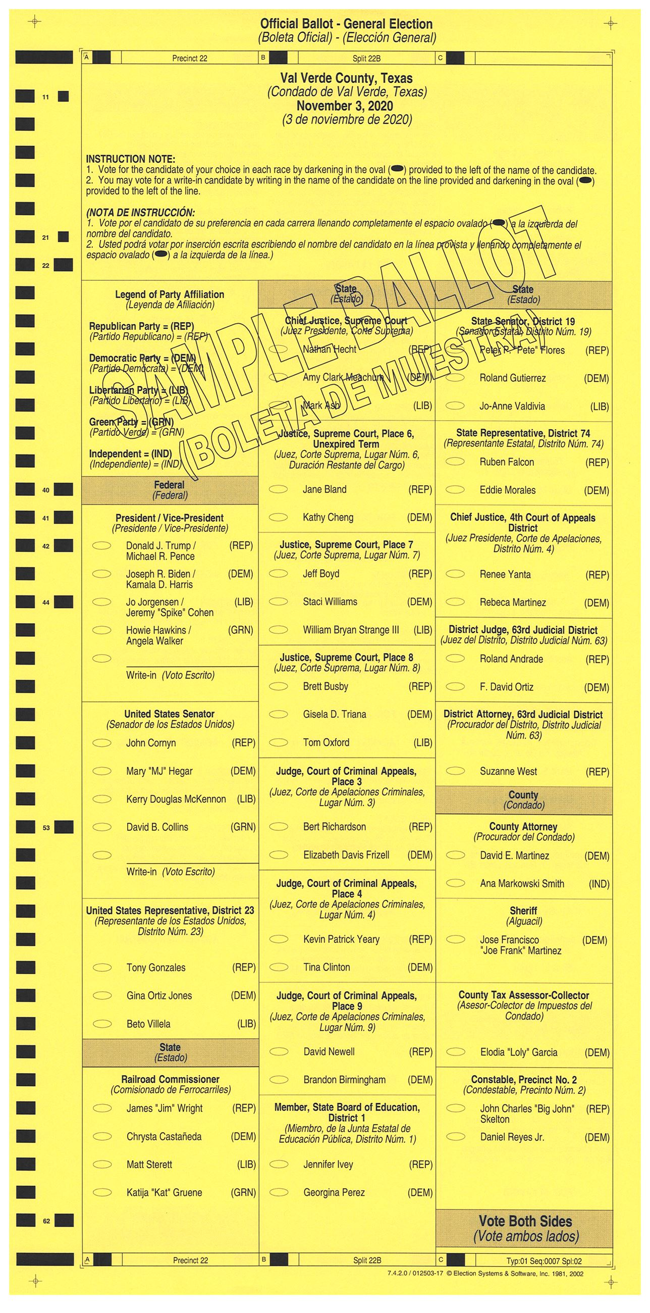 PRECINCT 22B SAMPLE BALLOT FRONT