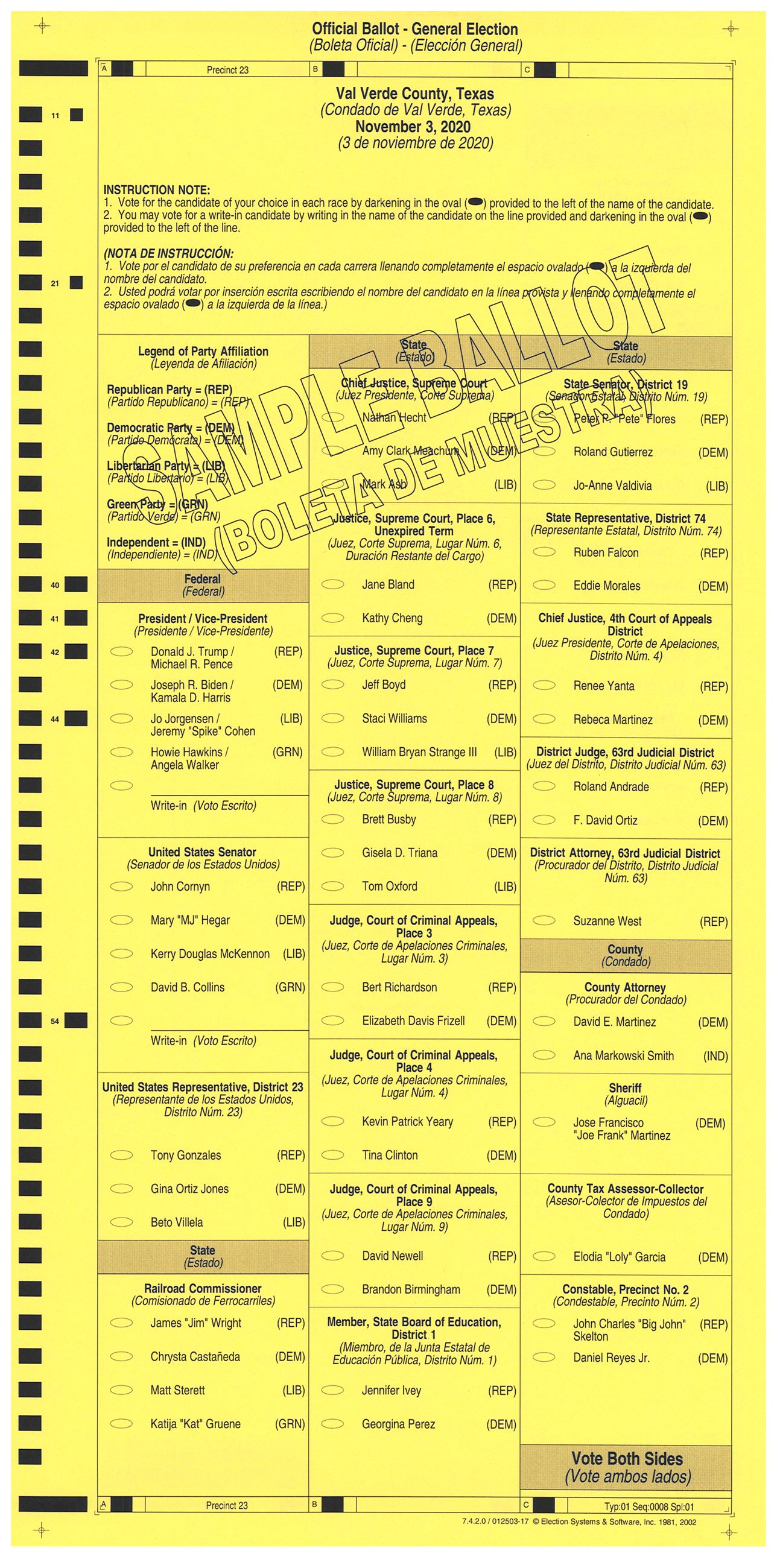PRECINCT 23 SAMPLE BALLOT FRONT