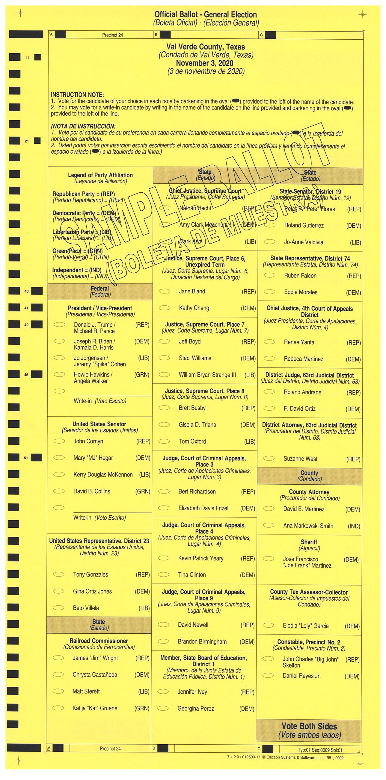 PRECINCT 24 SAMPLE BALLOT FRONT