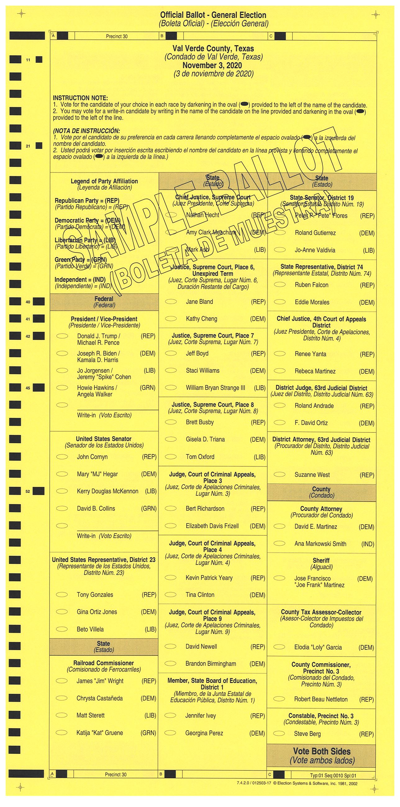 PRECINCT 30 SAMPLE BALLOT FRONT