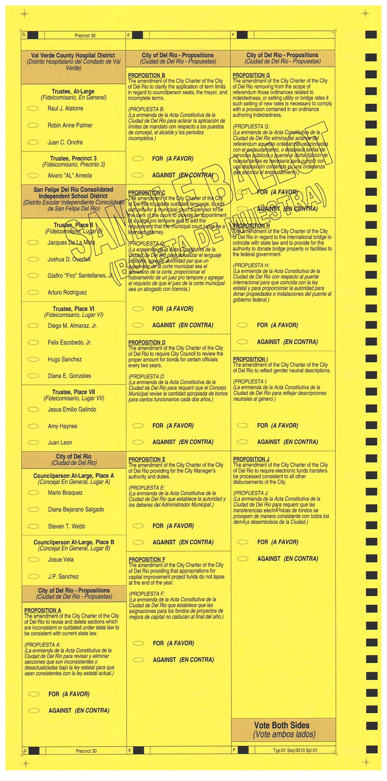 PRECINCT 30 SAMPLE BALLOT BACK