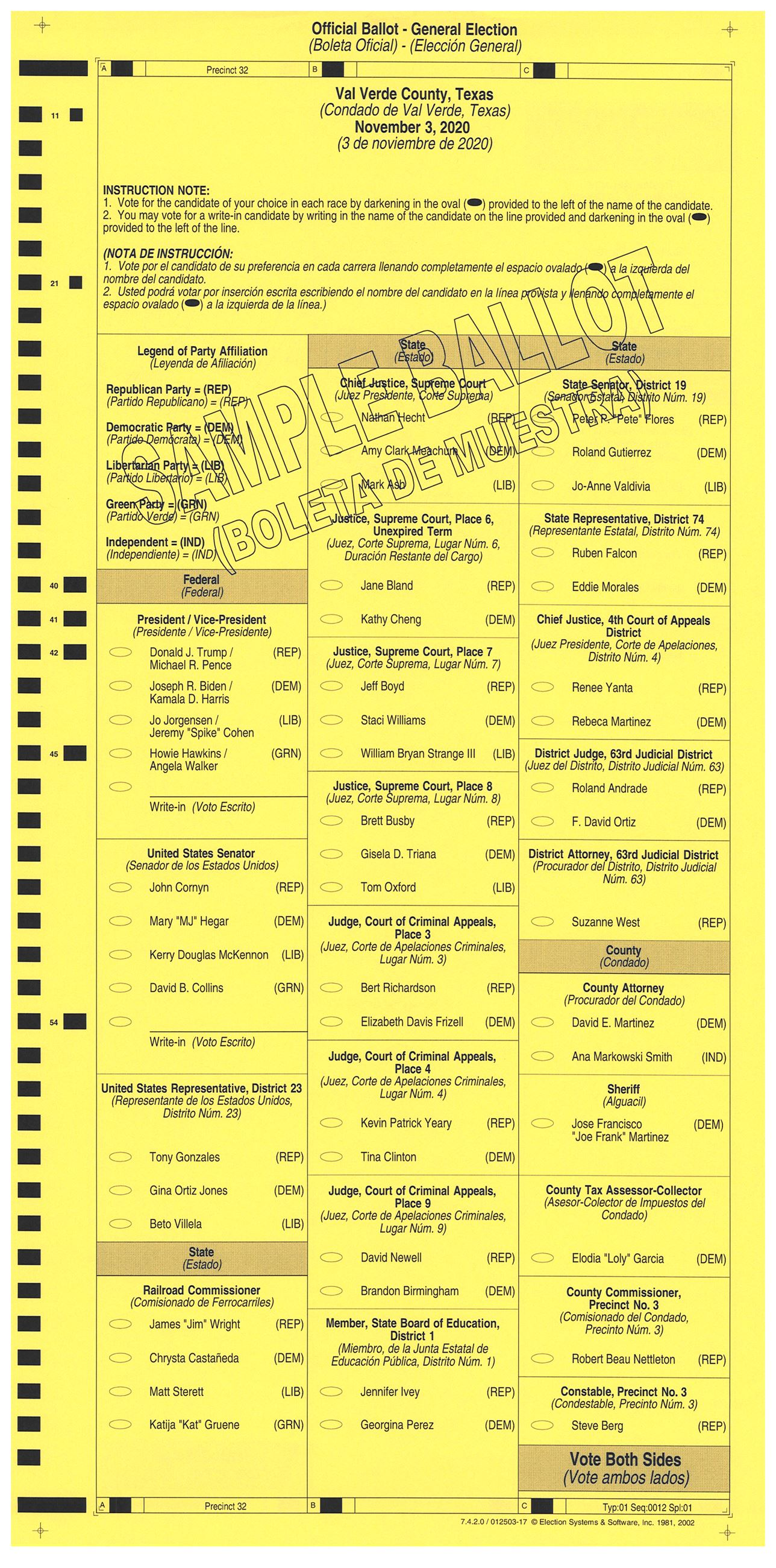 PRECINCT 32 SAMPLE BALLOT FRONT