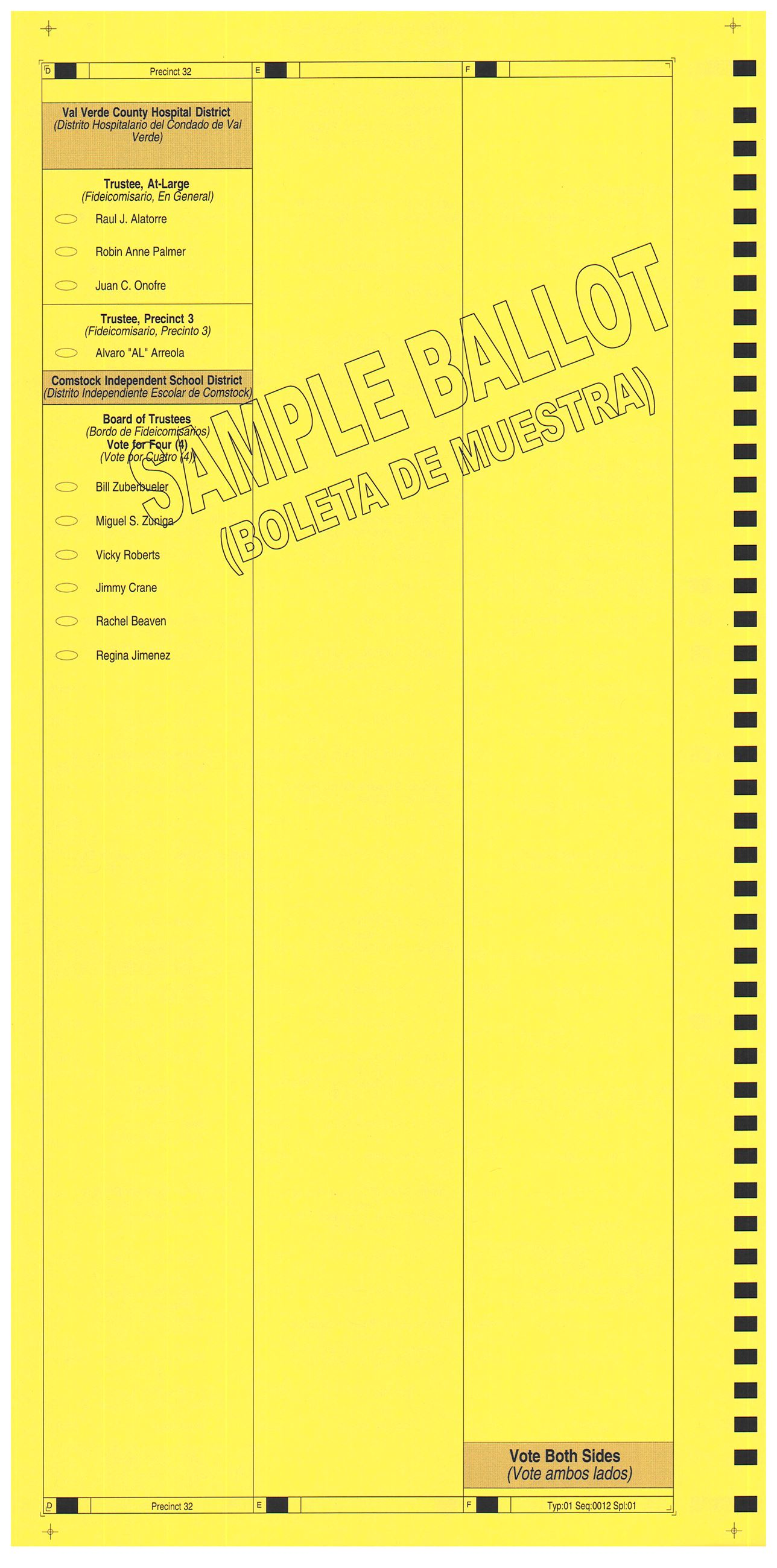 PRECINCT 32 SAMPLE BALLOT BACK