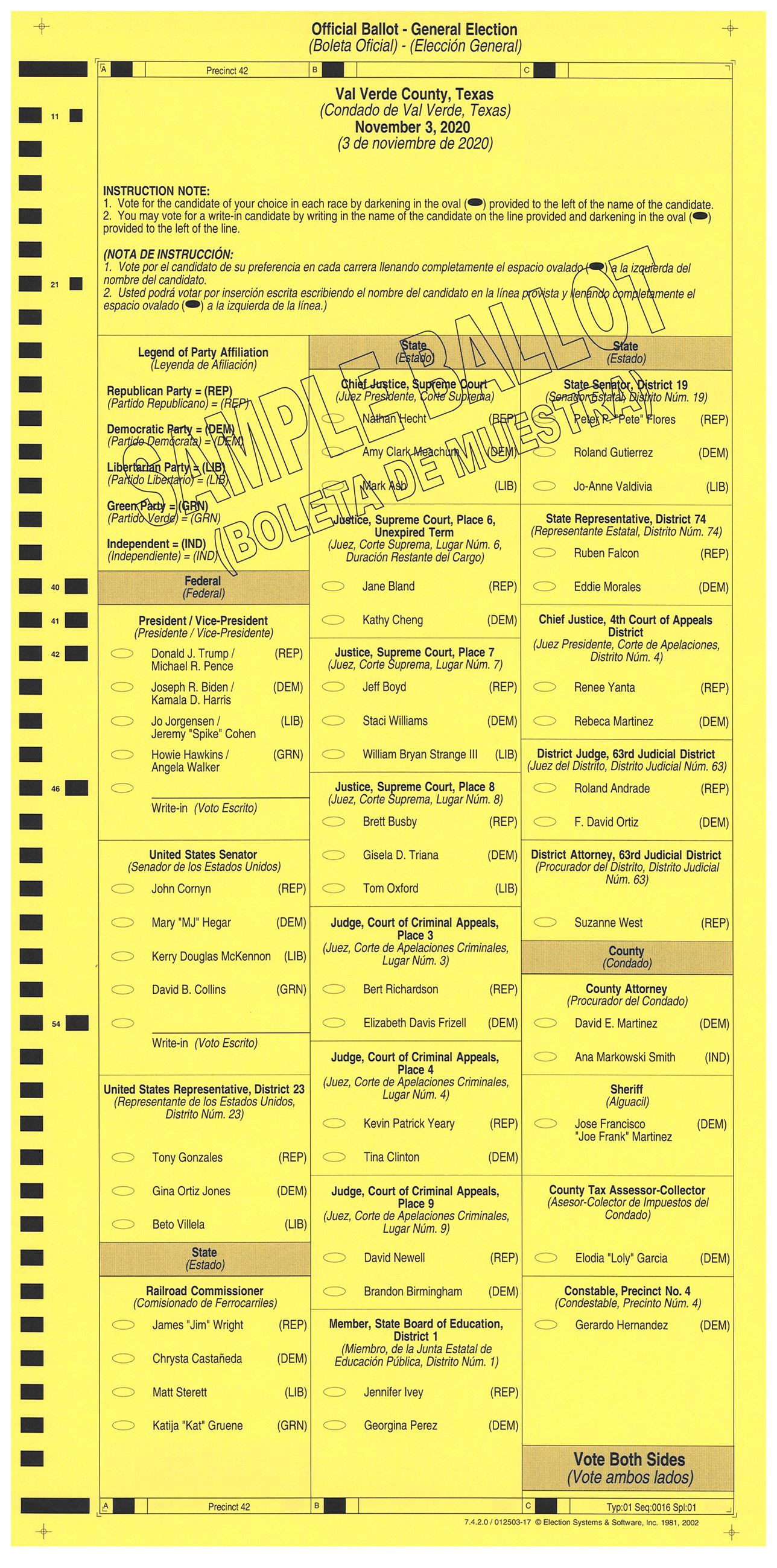 PRECINCT 42 SAMPLE BALLOT FRONT