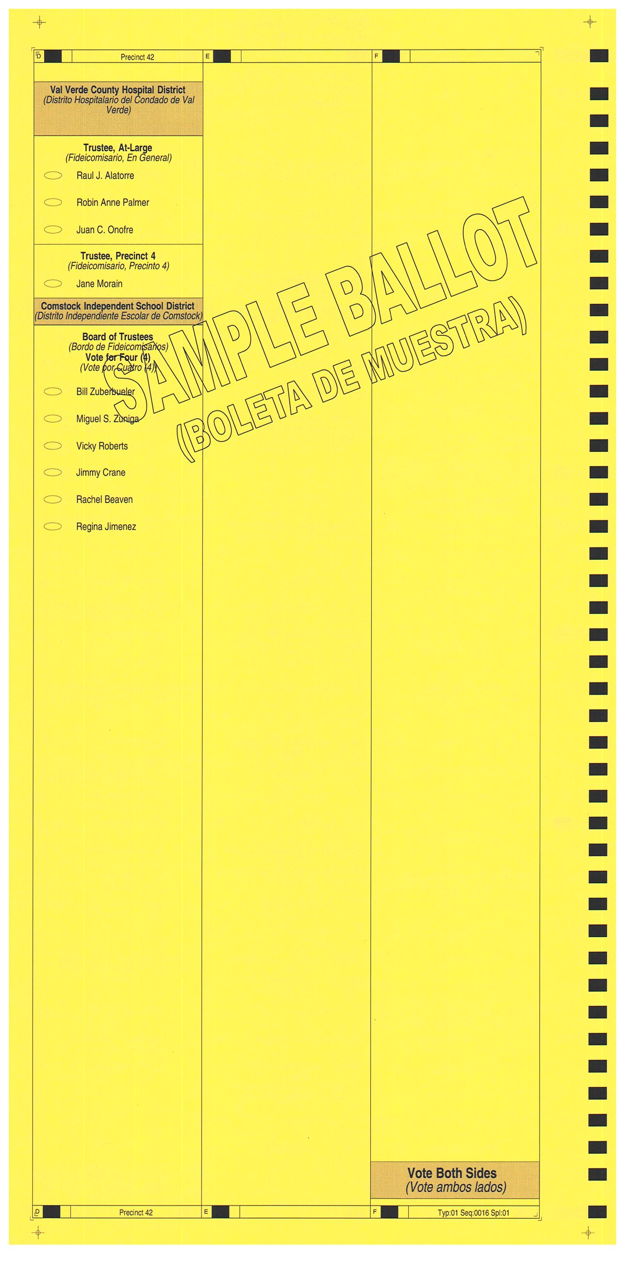 PRECINCT 42 SAMPLE BALLOT BACK