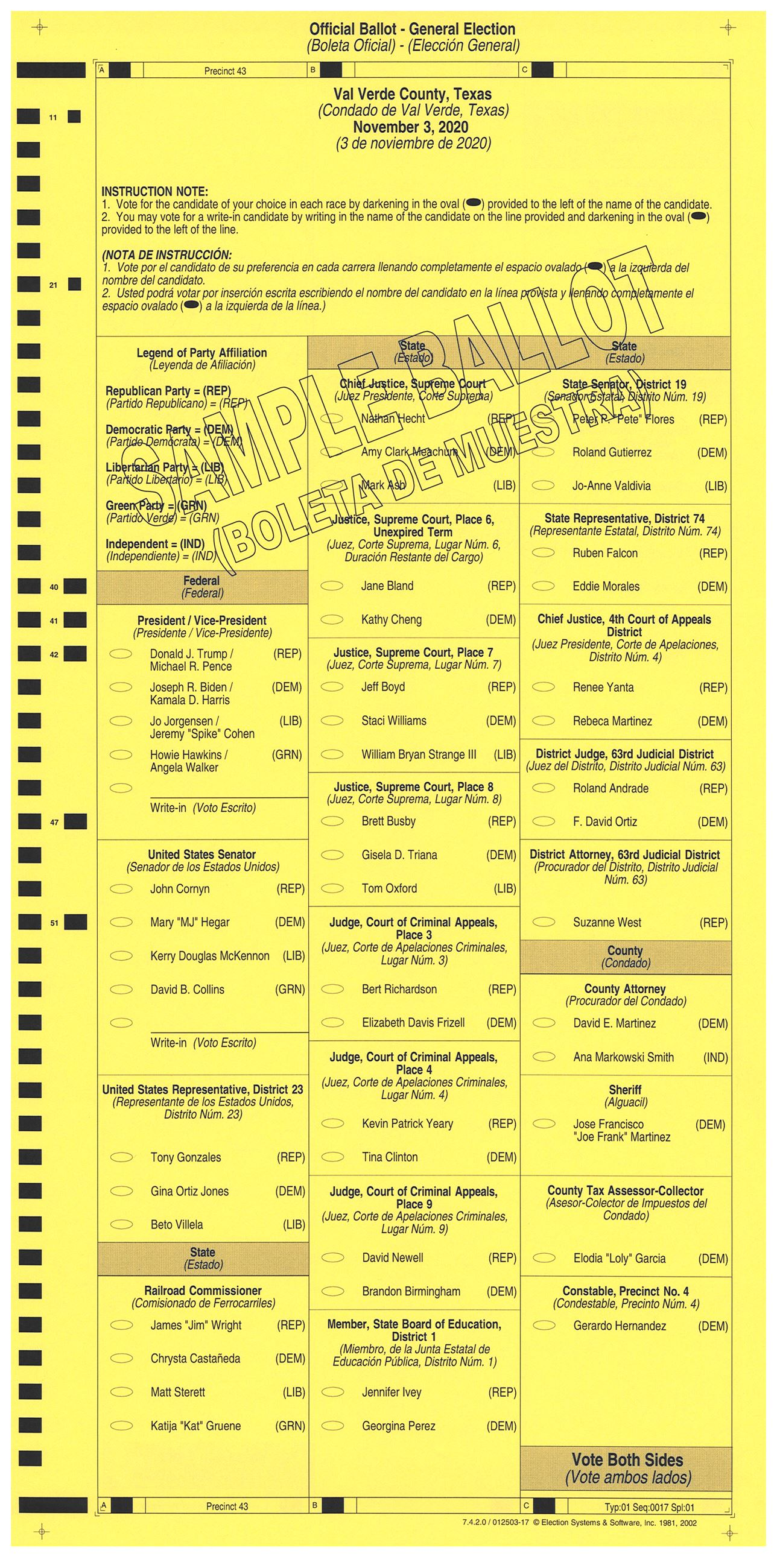 PRECINCT 43 SAMPLE BALLOT FRONT