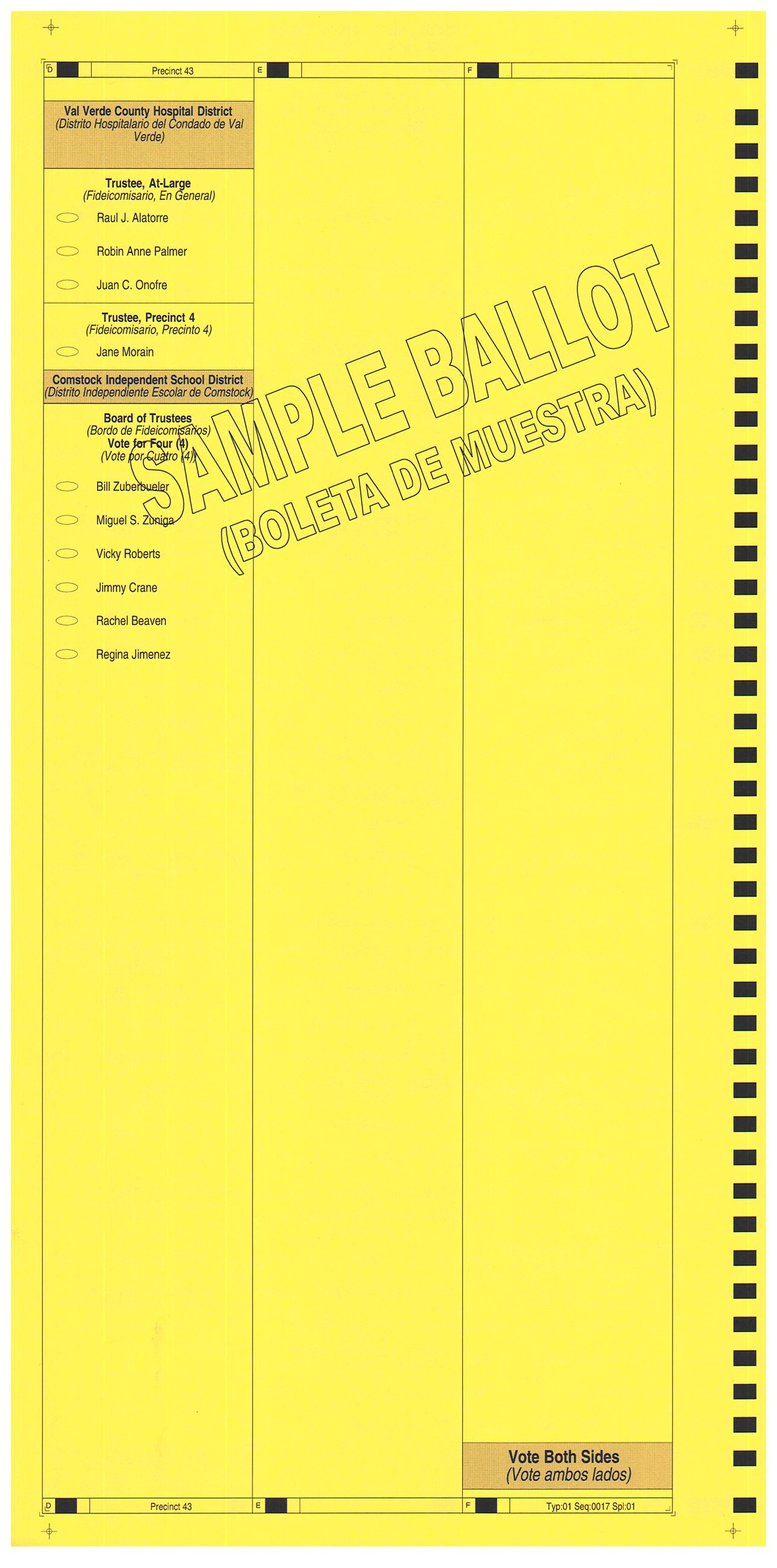 PRECINCT 43 SAMPLE BALLOT BACK